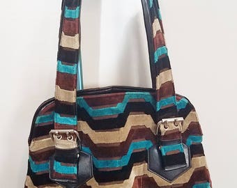 carpet handbag. vintage mid century mod carpet bag purse geometric stripes shoulder strap handbag
