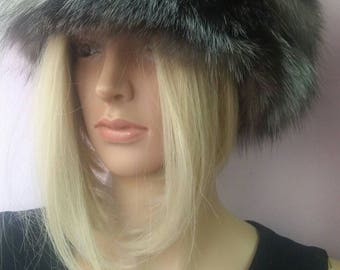 New!Natural,Real  Silver Fox Fur Hat