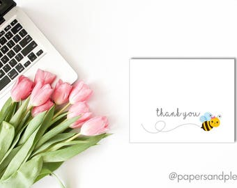 DIGITAL FILE - Bumble Bee Thank You Cards | Thank You Gifts | Kid's Thank You Cards |Thank You Notes | Instant Download | Printable Cards