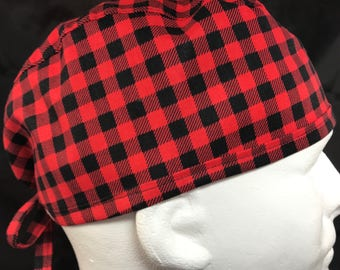"Red Buffalo Plaid Mens Fitted surgical cap surgeon's hat Fitted scrub caps hats for Men OR surgery hat skull cap 23"" LoveNstitchies Black"