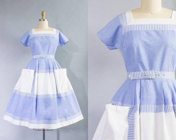 1950s Blue Color Block Cotton Dress/ Small (34B/26W)