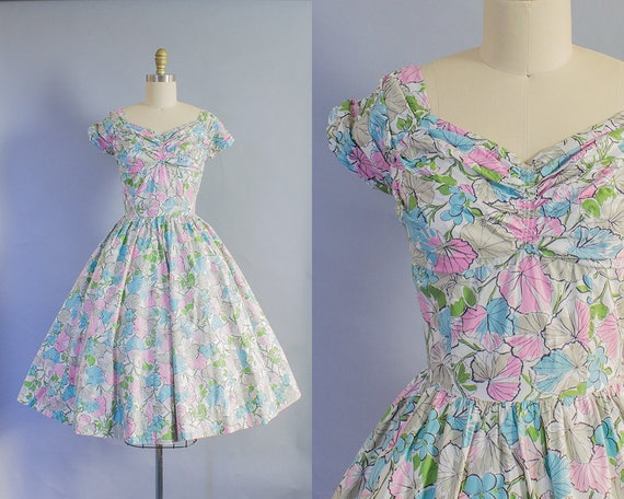 1950s Pastel Floral Sweetheart Dress/ Medium (36B/29W)