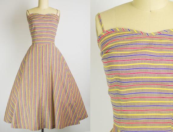 1950s Striped Cotton Sundress   Medium (34B/28W)