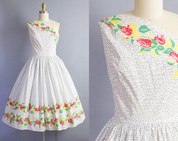 1950s Rose Print Sundress/ Medium (35b/27w)