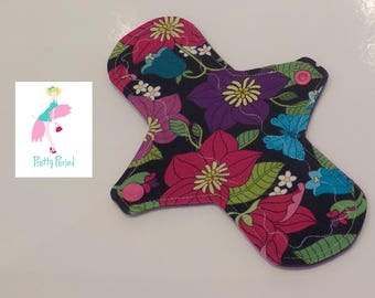 "Floral Jersey 8"" Regular CSP Cloth pad - reusable sanitary towel (2.5"" snapped) new shape"