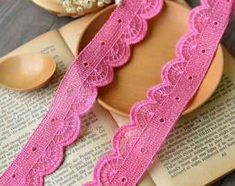 2 Yards PINK Lace Trim Piping Polyester Trim 3.4cm