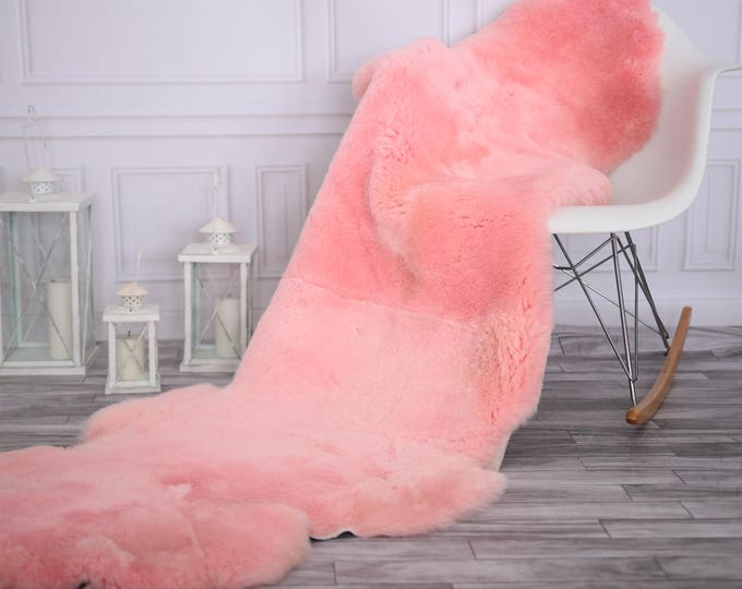 Double Sheepskin Rug | Long rug | Shaggy Rug | Chair Cover | Runner Rug | Pink Rug  | PinkSheepskin