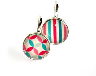 Earrings round geometric patterns