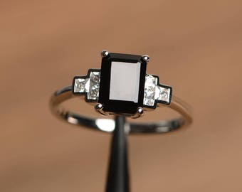 natural black spinel ring engagement ring silver ring emerald cut black gemstone sterling silver