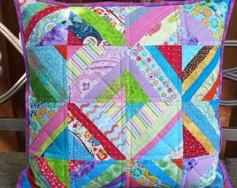 Colorful Patchwork Pillow, Farmhouse Pillow, Throw Pillow Cover, Shabby Chic Pillow, Pillow Sham, Decorative Pillow, Quilted Pillow