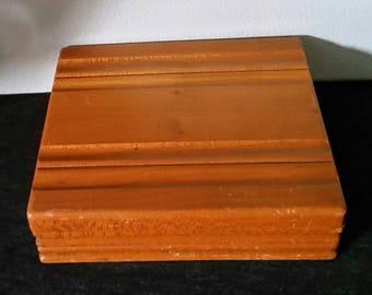 Vintage Wood Box with Hinged Lid, Storage Organization