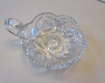 CUT GLASS BOWL with Handle