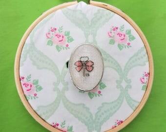 Handmade cross stitch ring key wit bow