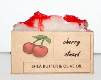 Cherry Almond Soap, Scented Soap, Natural Soap, Moisturizing Bar Soap, Homemade Soap, Red Soap, Luxury Spa Gift, Bath Bar, CHERRY ALMOND