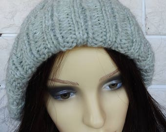 Hand Knitted Women's Light Green Two Style Winter Hat With Cream Faux Fur Pom pom - Free Shipping