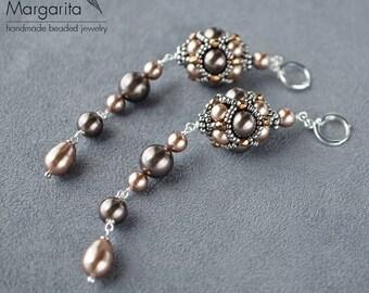 "Long  beaded earrings ""BRONZE"" with swarovski pearl earrings with seed beads beadwoven earrings bronze and brown earrings swarovski earrings"