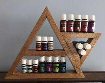 Double Triangle Wooden Essential Oil Shelf