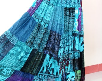 SALE 20% off and Free Gift !!! ** Blue Multi Patchwork Skirt Maxi Boho Hippie Gypsy Bohemian Summer Travel Skirt - No.1