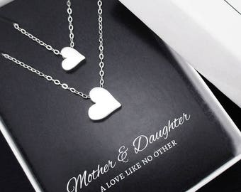 Mother Daughter Necklace, Heart Necklace Set of 2 Necklaces, Mother Daughter Jewelry, Mother Daughter Gift, Gifts for Mom