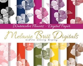 WATERCOLOR FLOWERS, digital paper pack, watercolor floral paper, floral background, floral pattern paper, scrapbook flowers, printable paper