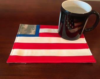 American Flag Camo Mug Rug