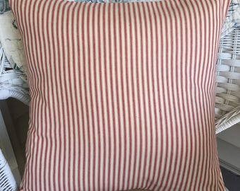 Red ticking pillow, Farmhouse pillow, Throw pillow cover. French country, shabby cottage, country cottage, Christmas pillow