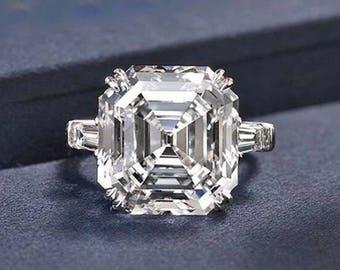 Asscher Moissanite Engagement Ring Harro Moissanite Custom Moissanite Engagement Ring 3 carat with Baguettes Supernova White Gold Platinum