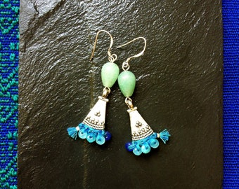BO stone green Aventurine, Jade turquoise and blue tassels, ethnic pendants silver plated and 925 sterling silver hooks