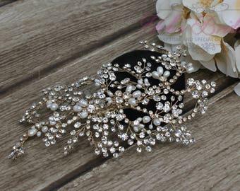 FAST SHIPPING!!! Gold Bridal Hair Comb, Wedding Hair Comb, Crystal Hair Comb, Swarovski Hair Comb, Crystal Headpiece, Bridal Headpiece