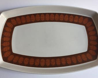 "Terra Cotta by Franciscan 13"" Oval Serving Platter 1960s Mid Century Modern"