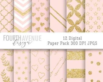 INSTANT DOWNLOAD, printable, digital scrapbook paper, digital paper, background, Light Pink and Gold Glitter