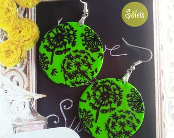 Green and black polymer earrings