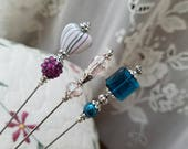 3 Victorian Antique Inspired Hat Pins Vintage Heart Bead, Crystals, Filigree Silver, Strong And Sharp. Beautiful To Collect & To Use!