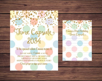 Time Capsule Sign and Card, First Birthday Time Capsule, Baby's Time Capsule Polka Dots Pastel Polkadots Gold PDF Printable