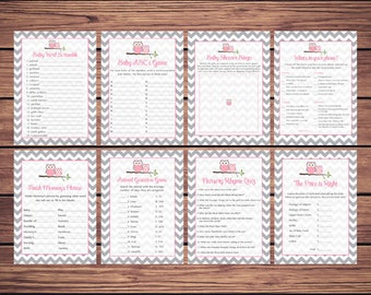 Baby Shower Games Package, Pink Owl Price is Right, Baby Shower Bingo, Word Scramble Gray Chevron Instant Download Printable 369