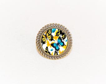 Ring bronze cabochon adjustable yellow and blue butterfly and flowers pattern