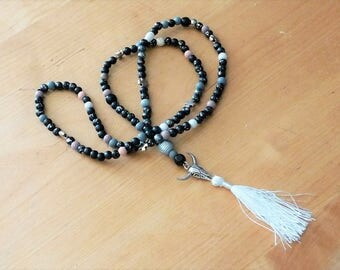 Necklace beads long Buffalo head, wood black/silver/grey and white tassel