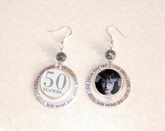 Earrings ' Silver 925 hoop cabochon black and white theme 50 shades of GREY earrings