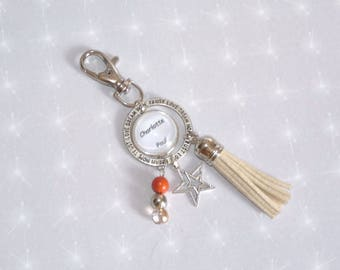 Keychain/bag charm personalised names with tassel, beads and Star Silver