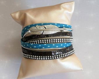Cuff Bracelet liberty blue polka dots, teal, black glitter, silver rhinestone and feather