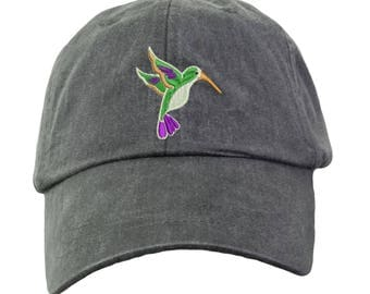 Hummingbird Embroidered  Baseball Hat. Cool Mesh Lining & Adjustable Strap. 33 Colors Avail. HER-LP101