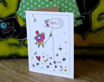 Greeting card, paper, wishes, wishes, party, fun characters, color, white, gray, thanks