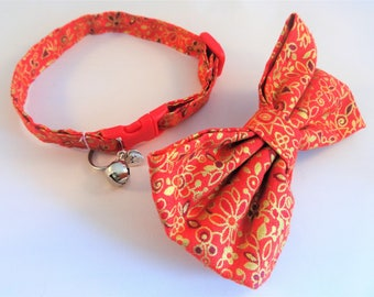 Cat Collar optional bow // Red and Gold floral