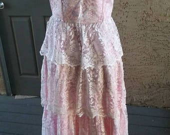 SALE Gorgeous pink satin, white lace tiered dress, 1950s vintage dress, party dress, pinup