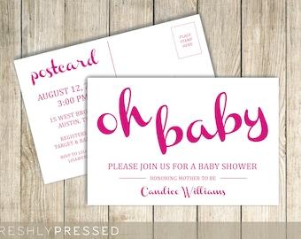 Oh Baby - Custom Baby Shower Postcard Invitation