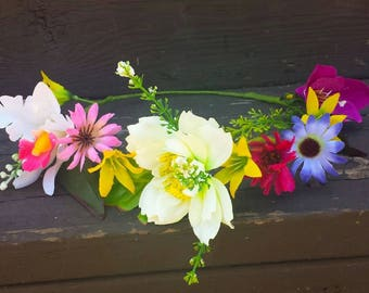 Wildflower Flower Crown Headband Boho Festival Floral Hair Wreath Halo