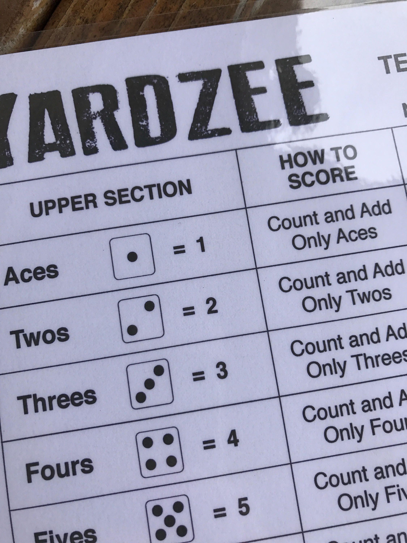 pdf 85x11 yardzee print your own downloadable score sheet