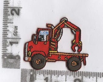 Red tow truck iron on patch