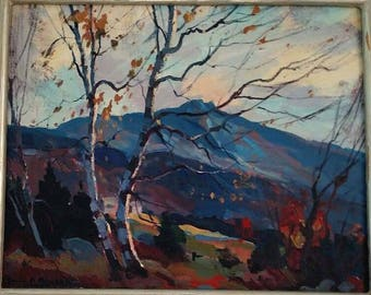 Emile Albert Gruppe Oil Canvas Board Painting Mt. Mansfield in the Fall in a silvered skyscraper frame Salmagundi Club Label