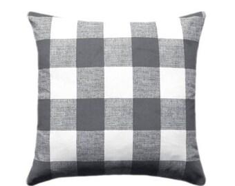 SALE Grey Plaid Pillow Cover, Anderson Gunmetal, Slate Grey Check Pillow, Buffalo Check Throw Pillow, 16 18 20 22 24 26, Hidden Zipper Closu